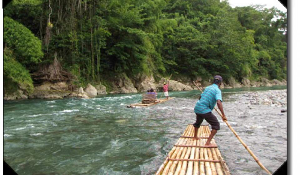 Rafting in Jamaica.