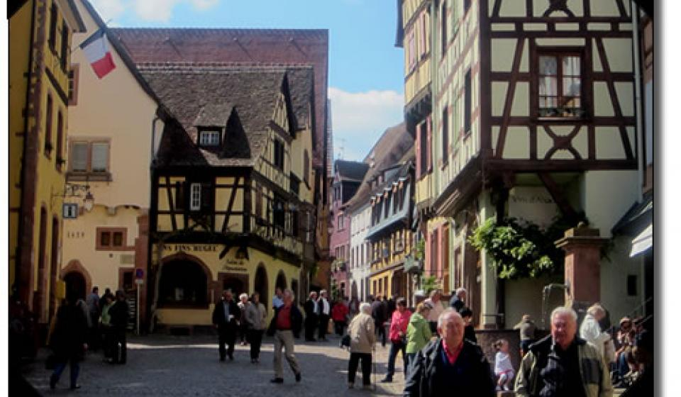 The main street of Riquewihr, France.
